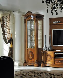 Brianza display cabinet 1 door inlaid, Showcase with inlays