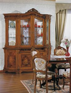 Brianza glass cabinet 4 doors, Crystal cabinet with inlays