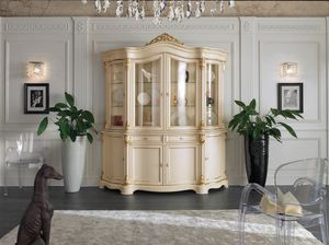 Brianza glass cabinet 4 lacquered doors, Classic glass cabinet, in lacquered wood