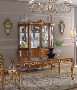 Chippendale glass cabinet 4 doors, Glass cabinet with decorative carvings