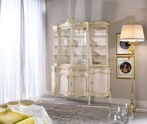 Chippendale glass cabinet 4 doors lacquered, Glass cabinet in lacquered wood