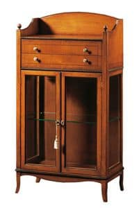 Cleopatra FA.0085, Glass cabinet with 2 doors, 2 drawers and storage compartment, ideal for environments in classic style