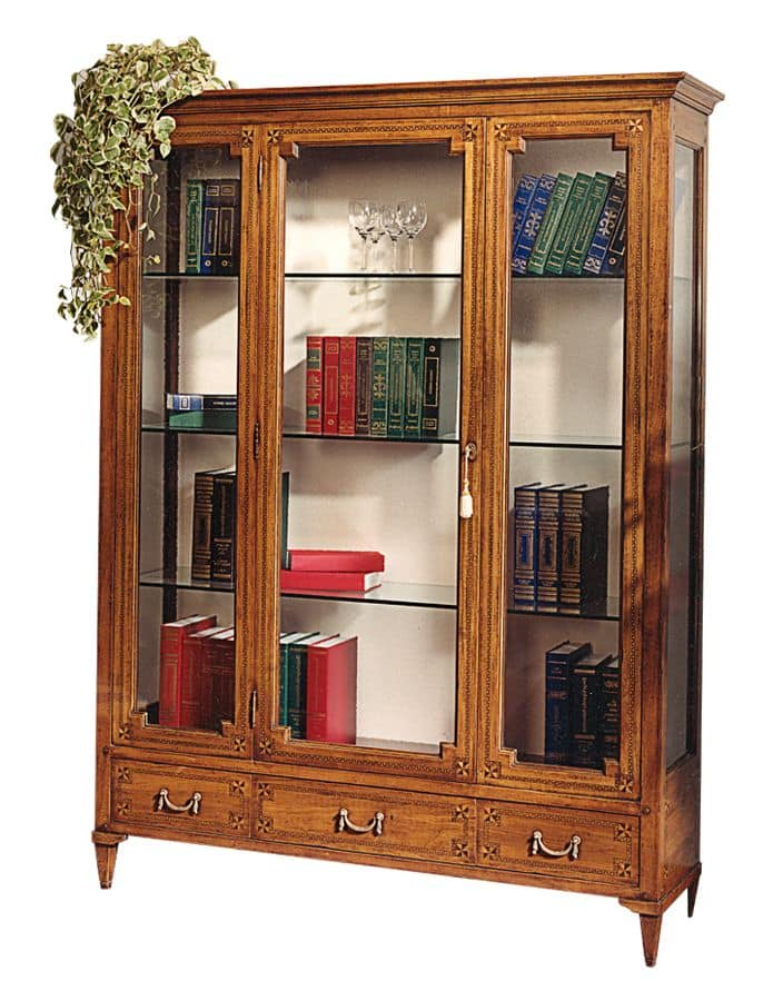 Cognac VS.6531.A, Display cabinet in walnut, with one central door, 3 drawers, back covered in fabric, crystal shelves, for environments in classic luxury style