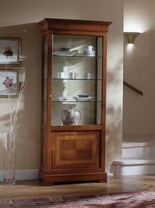 D 201, Classic display cabinet in cherry, with floral inlay