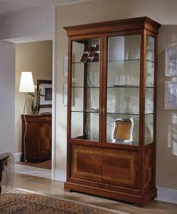 D 202, Display cabinet in cherry, with floral inlay, glass shelves