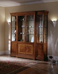 D 204, 4-door display cabinet, with floral inlay, glass shelves