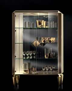 DIAMANTE display cabinet with two doors, Display cabinet with mirror background