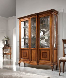 Display cabinet 2 doors inlay, Showcase in classic style
