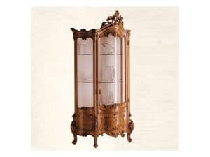 Display Cabinet art. 05, Showcase made of solid wood with curved glass, Baroque