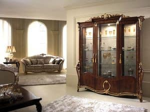 Donatello display cabinet with 3 doors, Display cabinet with elegant decor, with a classic Italian taste, for dining rooms