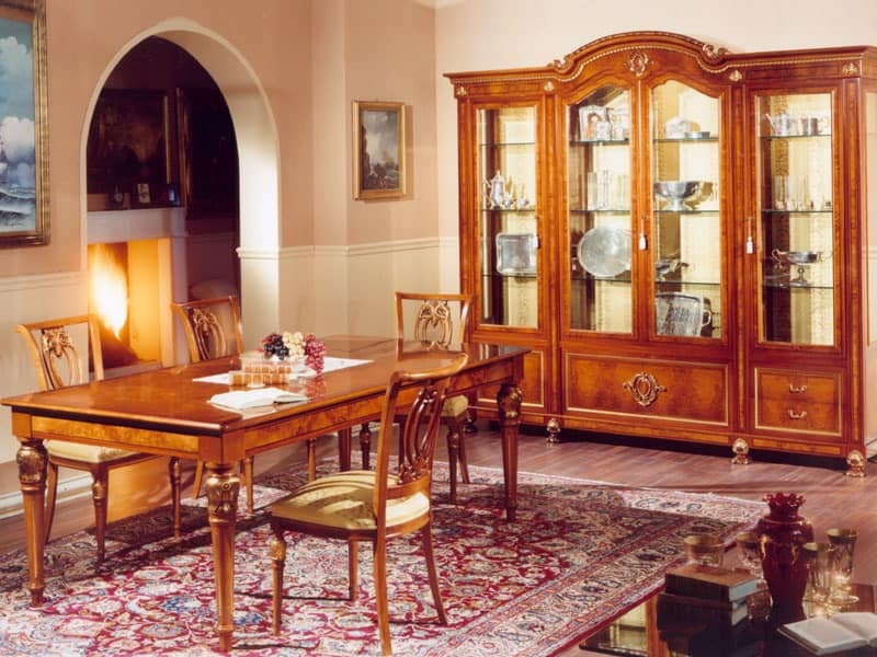 DUCALE DUCSO4PB / Display cabinet with 4 doors, Showcase made of ash and glass, luxury classic style