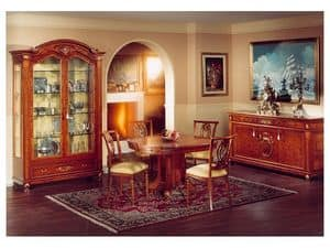 DUCALE DUCVE2P / Display cabinet with 2 doors, Display cabinet made of ash with 2 glass doors, classic style
