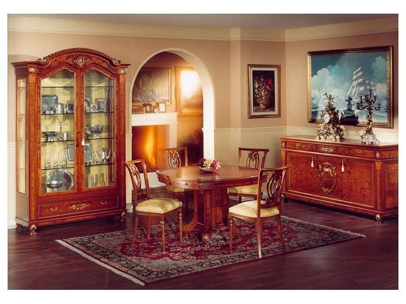 DUCALE DUCVE2P / Display cabinet with 2 doors, Display cabinet made of ash with 2 glass doors, classic style