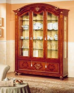 DUCALE DUCVE3P / Display cabinet with 3 doors, Display cabinet made of burl ash, classic style