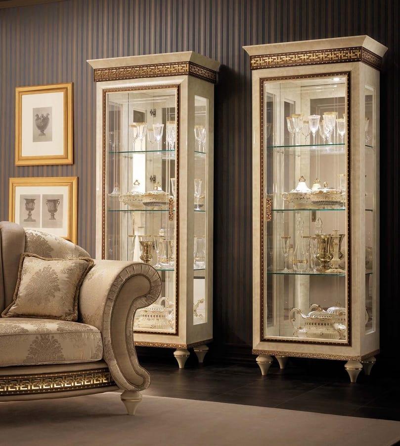Fantasia 1 door cabinet, Classic showcase, with mirror background