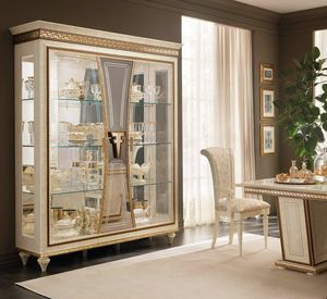 Fantasia 3 doors display cabinet, Luxurious showcase with handcrafted decorations