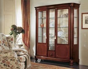 Gardenia glass-case 3 doors, Display cabinet with 3 doors, with curved glass, in classic style