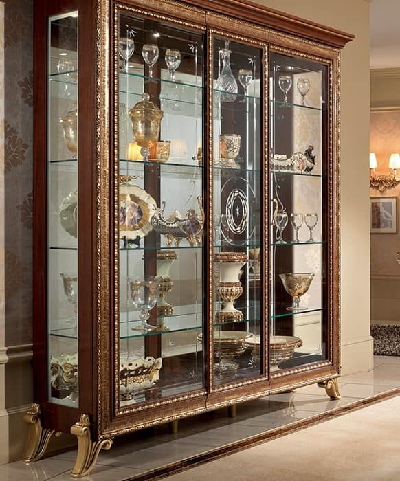 Giotto Display Cabinet Solid Wood With Gold Frame And Finish