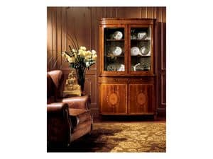 Hepplewhite cabinet 747, Classic style showcase with drawers and glass doors