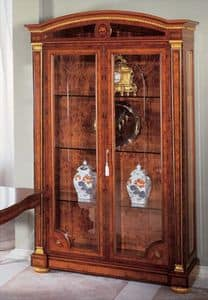 IMPERO / Display cabinet with 2 doors, Luxury display cabinet made of ash, classic style