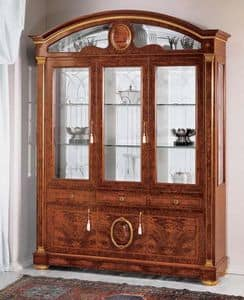 IMPERO / Display cabinet with 3 doors B, Display cabinet made of ash with glass doors, classic style