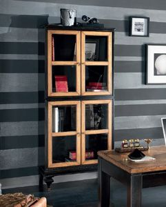 Inglese display cabinet 4 doors, Showcase in black lacquered wood