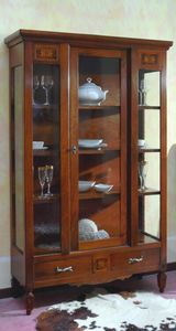 Luigi XVI 163, Display cabinet in classic style, with handcrafted inlays