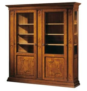 Morandi RA.0600, Showcase in walnut and cherry wood, inlaid, for hotels