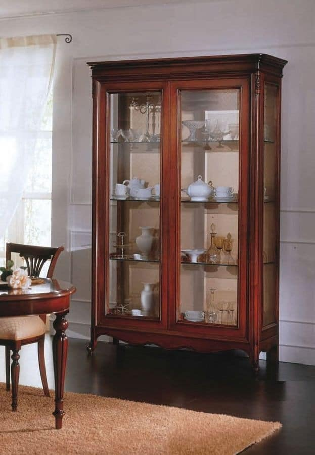 2 Doors Display Cabinet With Solid Wood Glass Shelves Idfdesign