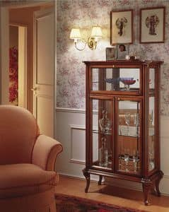 Oxford Art.518 flap door, Classic display cabinet with flap door, with mirror back