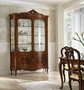 P 203, Classic display cabinet in walnut with decored frame