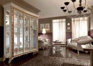 Raffaello display cabinet with 3 doors, Showcase with classical style, with elegant design decorated with serigraphs in golden powders, for the luxurious dining room