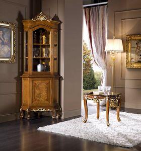 Regency corner display cabinet, Classic style corner cupboard