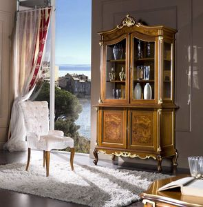 Regency cupboard 2 doors, Glass cabinet with briar fronts