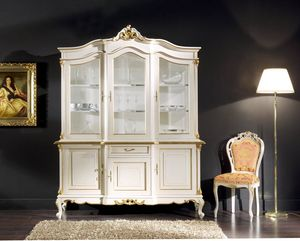 Regency cupboard 3 doors lacquered, Lacquered glass cabinet, classic style