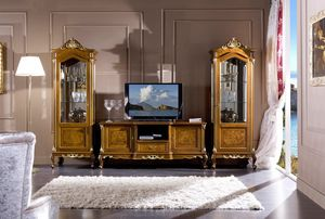 Regency display cabinet 1 door, Carved showcase, classic style