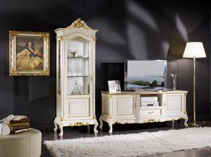 Regency display cabinet 1 door lacquered, Lacquered showcase, classic style