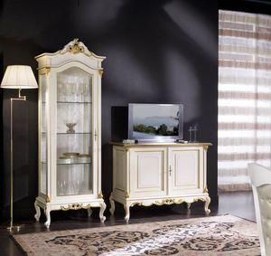 Regency display cabinet 1 door full glass, Showcase in classic style
