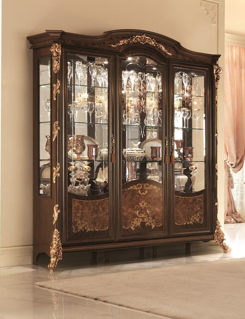 Sinfonia Display Cabinet, Display Cabinet With Bevelled Glass, Gold Leaf  Decorations