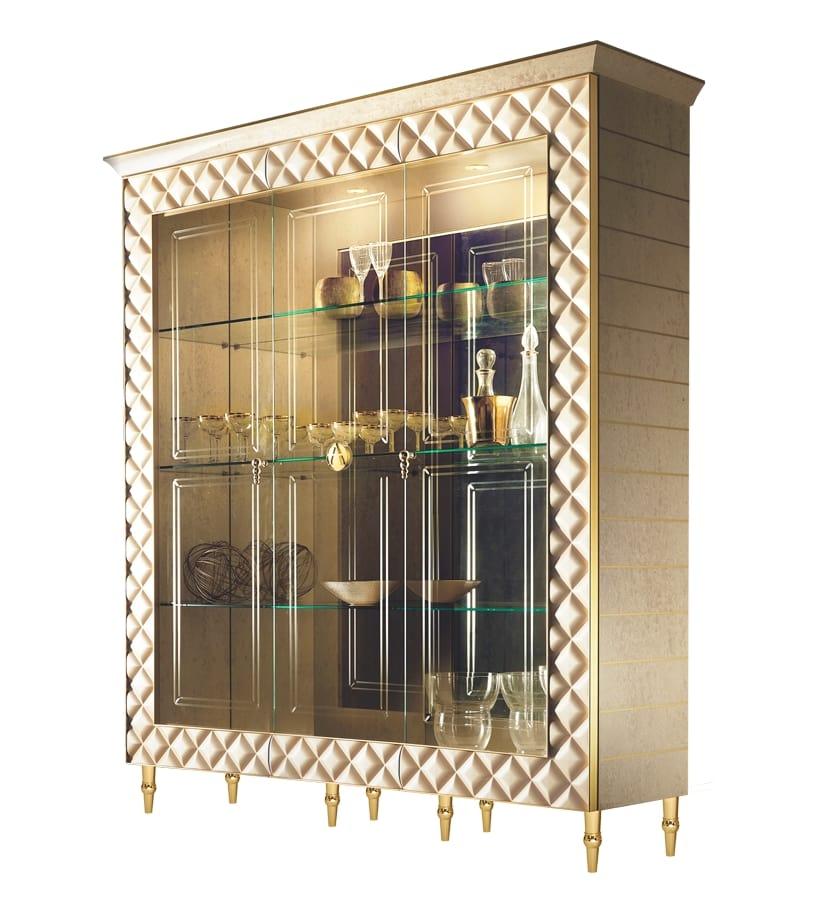 Classic Display Cabinet With 3 Glass Doors Idfdesign