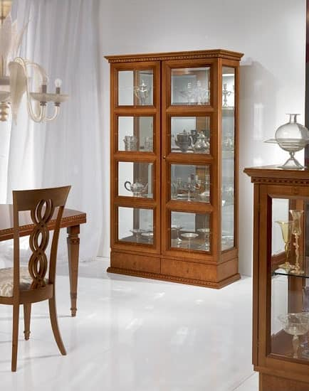V478 Quadrotti display cabinet, Classic showcase for living room, two doors, for Stays