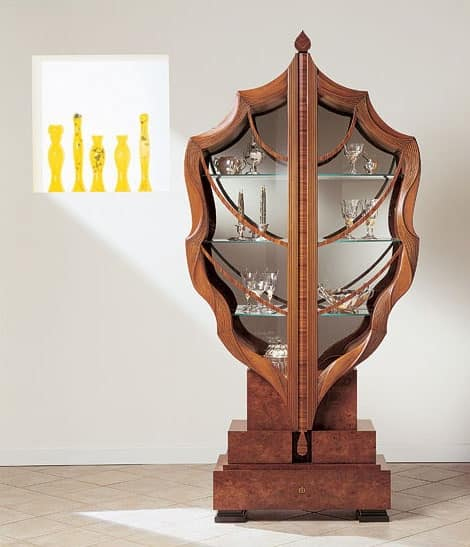 V498 La foglia display cabinet, Showcase leaf-shaped, solid wood, two doors