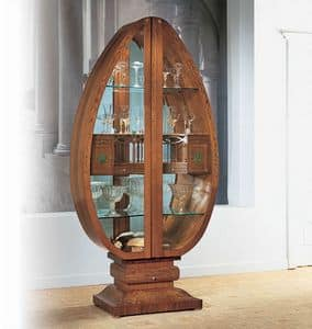 V548 Millennium display cabinet, Lit glass egg-shaped display cabinet, classical style