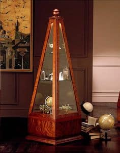 V568 Obelisco, Pyramid display cabinet, in solid wood, for the Living Room