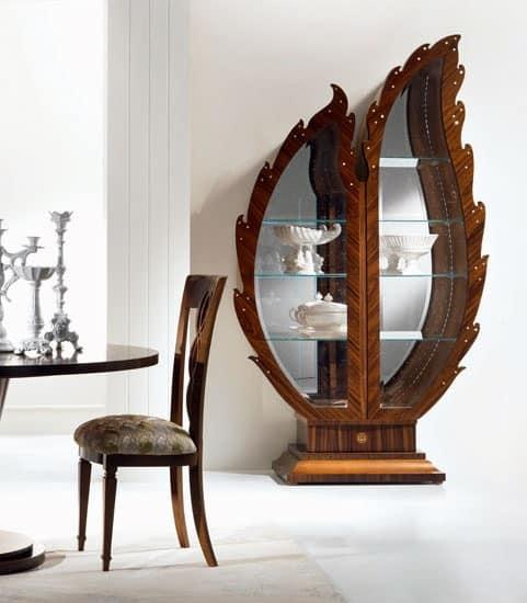 VE37 Pois display cabinet, Wooden display cabinet, mirror backdrop, lighting display