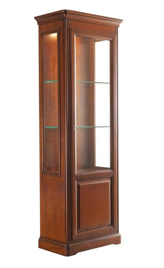Villa Cinquanta showcase 7576, Showcase with glass door and glass shelves