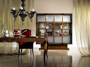 VL19 Quadro, Library display cabinet with sliding doors, inlaid wood