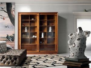 VL25 Le cornici display cabinet, Library display cabinet, with inlay, sliding doors, for living room