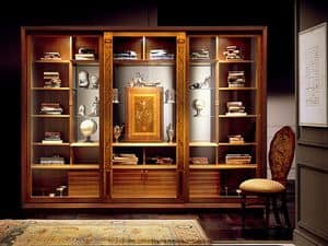 VL661 Le Cornici display cabinet, Showcase bookcase with inlays, furniture in classic style