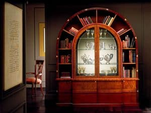 VL671 Arco due cabinet, Arched library in inlaid rosewood, internal lighting